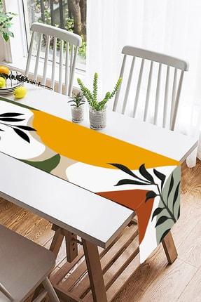 Realhomes Renkli Zeminli Onedraw Çizimli Yaprak Desenli Dijital Baskılı Özel Tasarım Süet Runner 1
