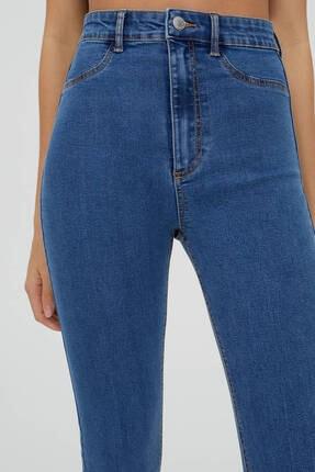 Pull & Bear Kadın Mavi Yüksek Bel Robalı Jeans 4