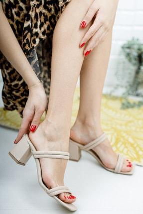 meyra'nın ayakkabıları Kadın Ten Çift Bantlı Topuklu Terlik 2