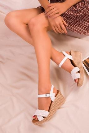 Soho Exclusive Beyaz Kadın Dolgu Topuklu Ayakkabı 15850 2