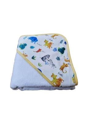 Elmira Textile Unisex Bebek Beyaz  Hayvan Desenli Kundak Banyo Havlusu  75x75 0
