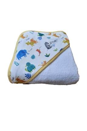 Elmira Textile Unisex Bebek Beyaz  Hayvan Desenli Kundak Banyo Havlusu  75x75 1