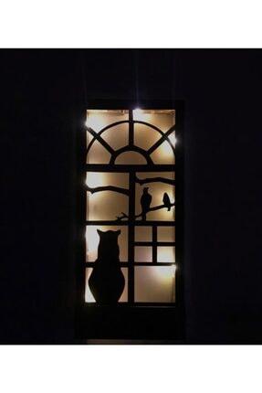 MSAĞWOODS 36x18 Piller Dahil Peri Ledli Desenli Masif Ahşap Tablo Duvar Süsü Ev Hediyesi Hol Antre Gece Lamba 1