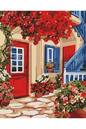 Tabdiko Kırmızı Bahçe Sayılarla Boyama Hobi Seti 40x50 cm 1