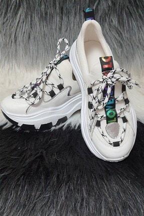 Kadın Kalın Taban Gola Beyaz Spor Ayakkabı 21S0GOLA