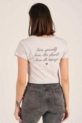 Tena Moda Kadın Gri Ön Arka Nakışlı Tişört 4