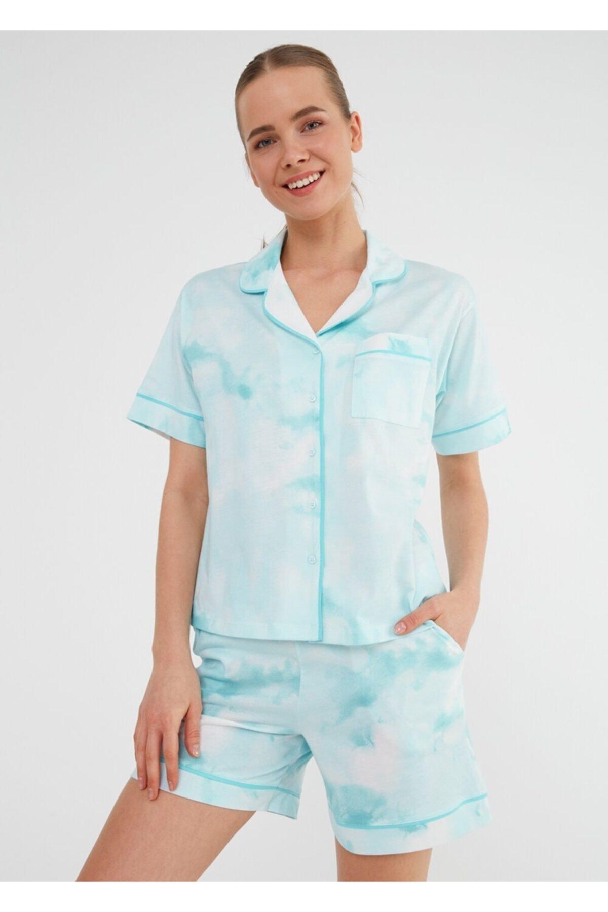 Kadın Mint Batik Desenli Şortlu Pijama Takımı