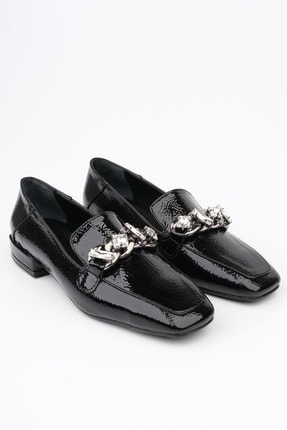 Marjin Kadın Siyah Rugan Loafer Ayakkabı Bifan 2