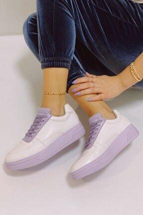 Nil Shoes Beyaz Lila Popi Spor Ayakkabı 3