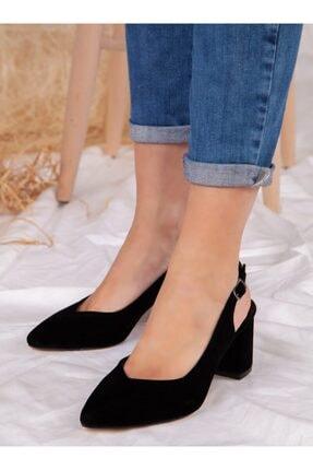 ayakkabıhavuzu Kadın Siyah Süet Topuklu Ayakkabı 1