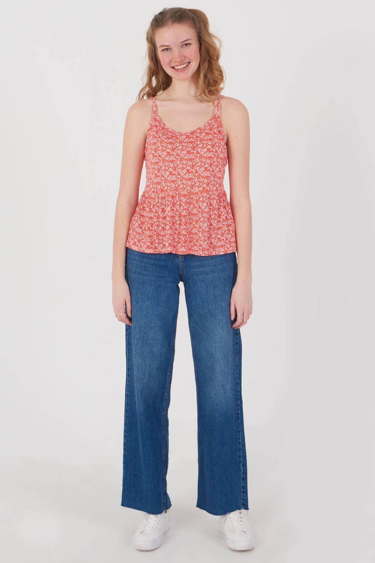 Addax Kadın Kırmızı Çiçek Desenli Bluz Çiç B12242 Adx-0000023925 2