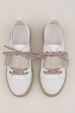 Marjin Kadın Beyaz Gümüş Sneaker Spor Ayakkabı Noni 1