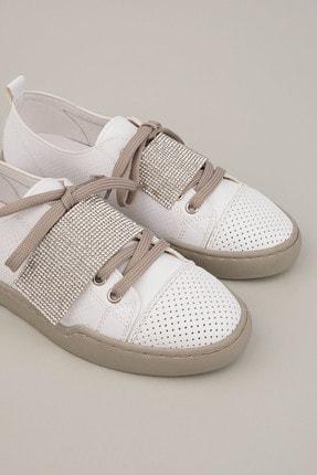 Marjin Kadın Beyaz Gümüş Sneaker Spor Ayakkabı Noni 4