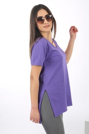 SARAMODEX Kadın Mor V Yaka Düz Renk Basic T-Shirt 1