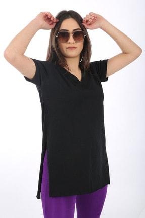 SARAMODEX Kadın Siyah V Yaka Düz Renk Basic T-Shirt 0