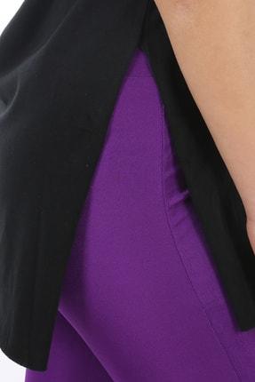 SARAMODEX Kadın Siyah V Yaka Düz Renk Basic T-Shirt 4