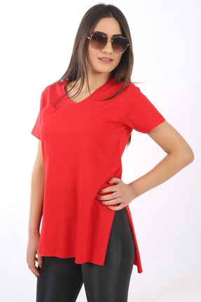 SARAMODEX Kadın Kırmızı V Yaka Düz Renk Basic T-Shirt 1