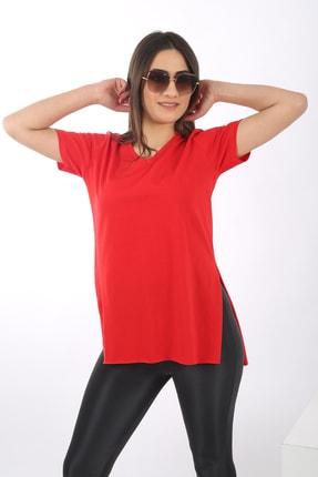 SARAMODEX Kadın Kırmızı V Yaka Düz Renk Basic T-Shirt 2