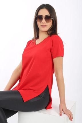 SARAMODEX Kadın Kırmızı V Yaka Düz Renk Basic T-Shirt 3