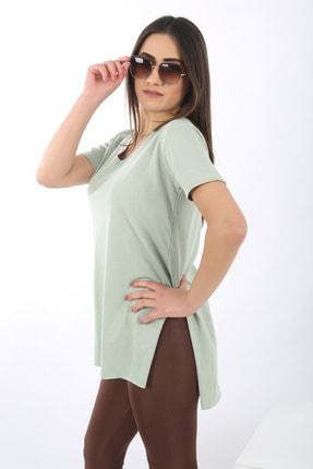 SARAMODEX Kadın Mint Yeşili V Yaka Düz Renk Basic T-Shirt 1
