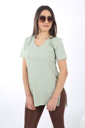 SARAMODEX Kadın Mint Yeşili V Yaka Düz Renk Basic T-Shirt 2