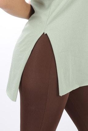 SARAMODEX Kadın Mint Yeşili V Yaka Düz Renk Basic T-Shirt 3