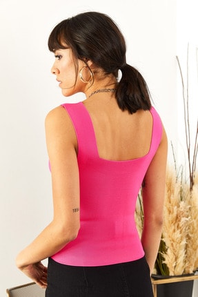 Olalook Kadın Fuşya Kalın Askılı Yazlık Triko Bluz BLZ-19000853 4