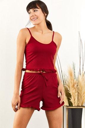 Olalook Kadın Bordo Askılı Fırfırlı Pijama Takımı TKM-19000076 1