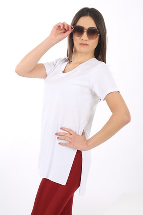 SARAMODEX V Yaka Düz Renk Basic Tişört 2