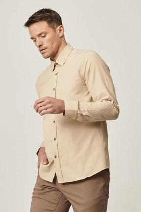Altınyıldız Classics Erkek Bej Tailored Slim Fit Dar Kesim Düğmeli Yaka Oxford Gömlek 1