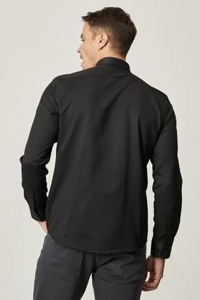 Altınyıldız Classics Erkek Siyah Tailored Slim Fit Dar Kesim Düğmeli Yaka Armürlü Gömlek 4