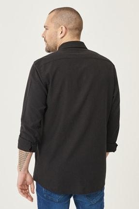 Altınyıldız Classics Erkek Siyah Tailored Slim Fit Dar Kesim Düğmeli Yaka Keten Gömlek 4