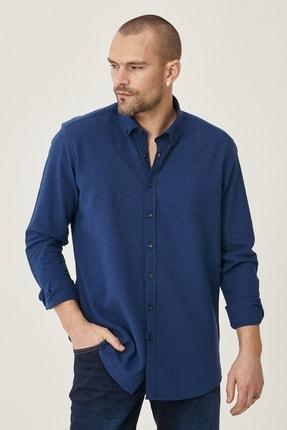 Altınyıldız Classics Erkek Lacivert Tailored Slim Fit Dar Kesim Düğmeli Yaka Keten Gömlek 1
