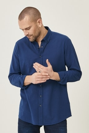 Altınyıldız Classics Erkek Lacivert Tailored Slim Fit Dar Kesim Düğmeli Yaka Keten Gömlek 2