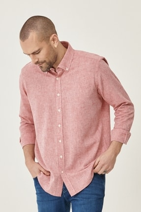 Altınyıldız Classics Erkek Kırmızı Tailored Slim Fit Dar Kesim Düğmeli Yaka Keten Gömlek 2