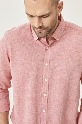 Altınyıldız Classics Erkek Kırmızı Tailored Slim Fit Dar Kesim Düğmeli Yaka Keten Gömlek 3
