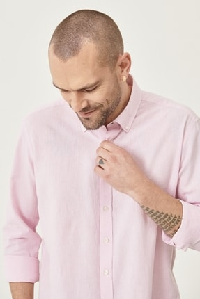 Altınyıldız Classics Erkek Pembe Tailored Slim Fit Dar Kesim Düğmeli Yaka Keten Gömlek 3