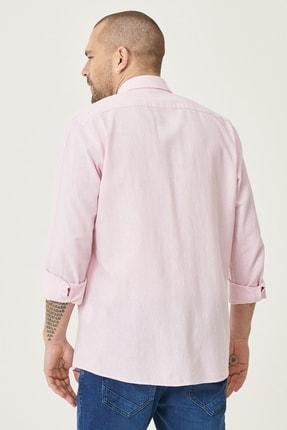 Altınyıldız Classics Erkek Pembe Tailored Slim Fit Dar Kesim Düğmeli Yaka Keten Gömlek 4