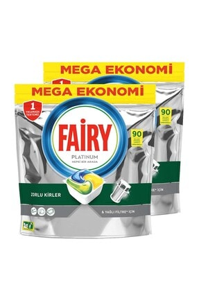 Fairy Platinum 180 Yıkama Bulaşık Makinesi Deterjanı Kapsülü Limon Kokulu 1