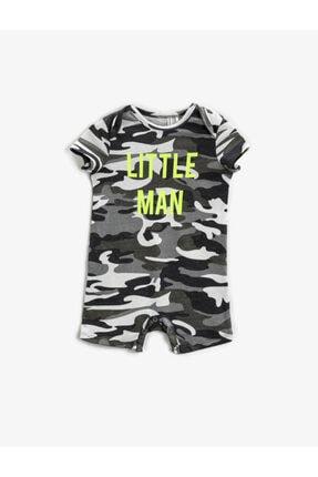 Koton Erkek Bebek Gri Yazılı Tulum 0