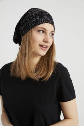 Butikgiz Kadın Siyah, Beyaz Desenli, Ip Detaylı 4 Mevsim Şapka Bere Buff -ultra Yumuşak Doğal Penye Kumaş 3