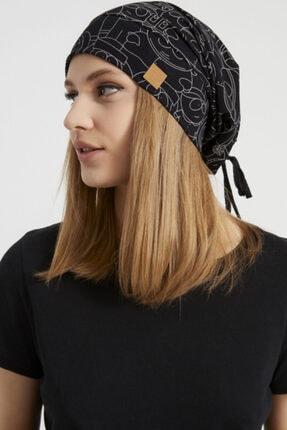 Butikgiz Kadın Siyah, Beyaz Desenli, Ip Detaylı 4 Mevsim Şapka Bere Buff -ultra Yumuşak Doğal Penye Kumaş 4