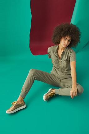 GİZZEY Kadın Haki Pantolon Takım 20592 1