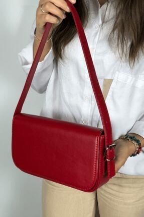 LinaConcept Kadın Kırmızı Kapaklı Baget Çanta 0