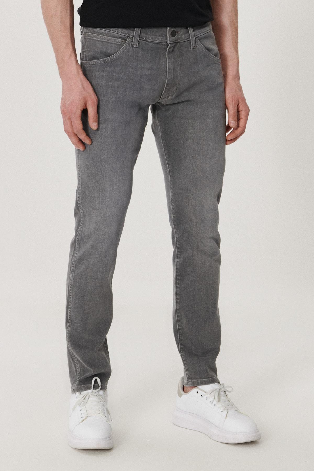 Bryson Erkek Açık Gri Skinny Normal Bel Çok Dar Paça Esnek Jean Pantolon