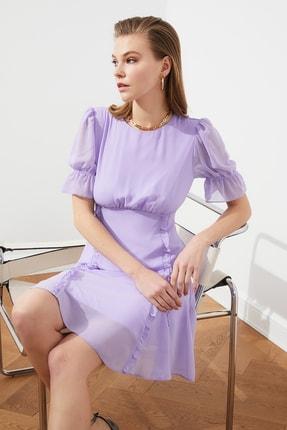 TRENDYOLMİLLA Lila Fırfır Detaylı Şifon Elbise TPRSS21EL0889 3