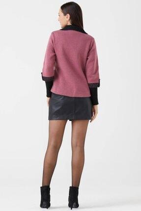Sementa Kadın Polo Yaka Düğmeli Triko Ceket - Gül - Siyah 2