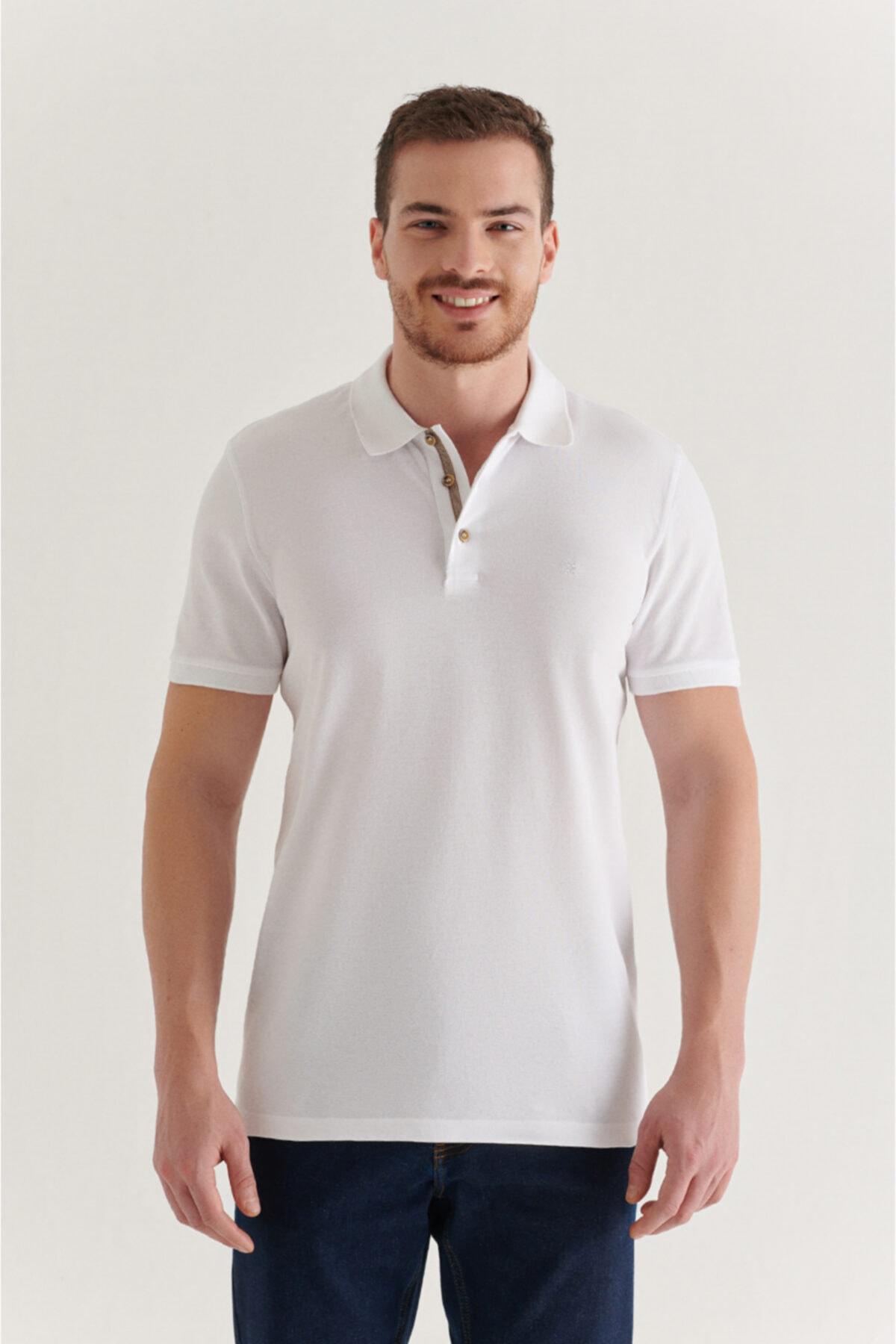Erkek Beyaz Polo Yaka Düz T-shirt A11b1174