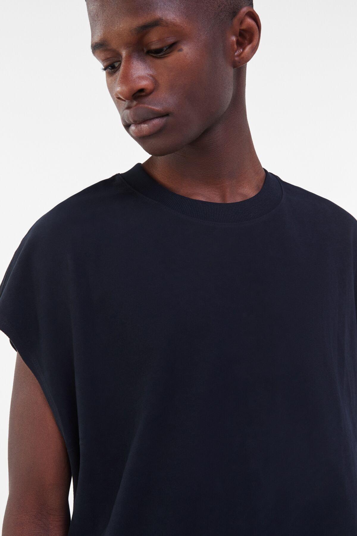 Bershka Erkek Siyah Ekstra Loose Fit Worker T-shirt 2