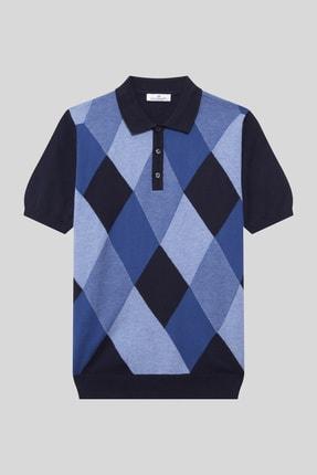 Halifaks Erkek Polo Yaka Baklava Desenli Pamuklu Koyu T-shirt 0